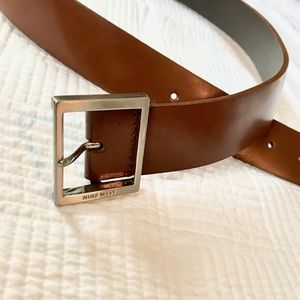 NINE WEST Genuine Leather Belt with Silver Clasp